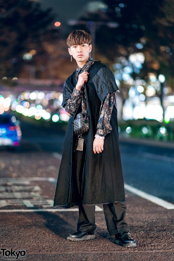 Menswear Street Style in Tokyo w/ Suede Coat, Floral Shirt, Comme des Garcons Cuffed Pants, Hare Buckle Shoes & Goyard Bag