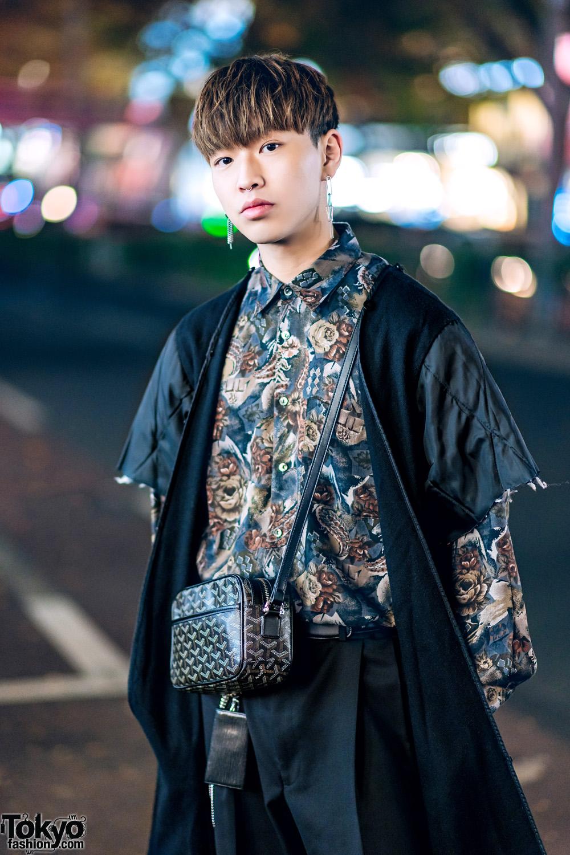 Menswear Street Style In Tokyo W Suede Coat Floral Shirt