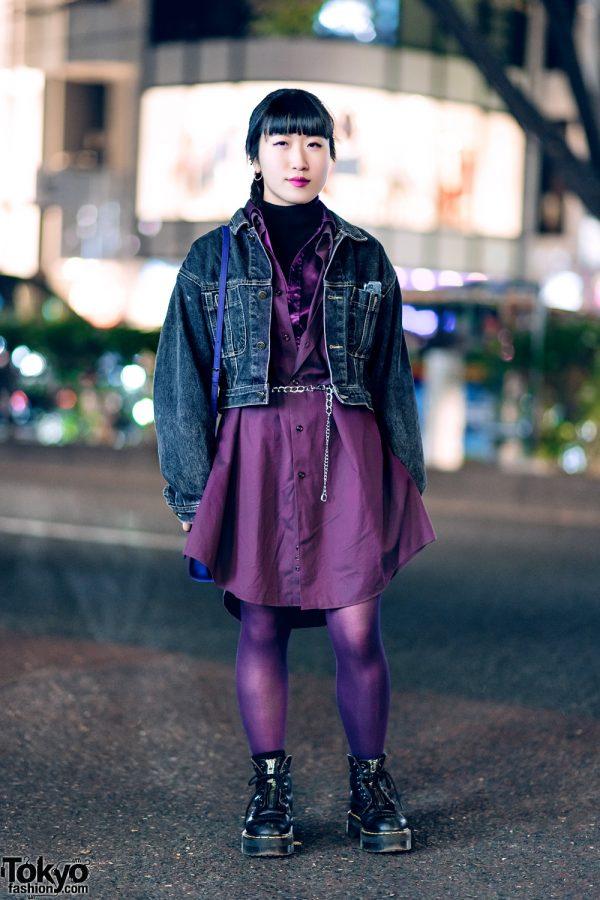 Purple Vintage Harajuku Streetwear Style w/ Denim Jacket & Shirt Dress, APC Sweater, Dr. Martens Boots & Agnes B Sling