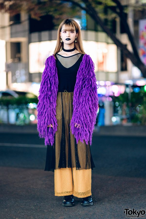 Harajuku Creator's Street Style w/ Jouetie Fuzzy Cardigan, Zara, GVGV Drawstring Lace Pants, Fishnet Dress & Dr. Martens T-Strap Shoes