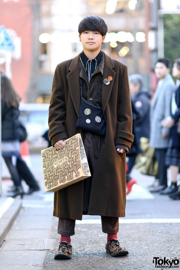 Harajuku Street Style w/ Brown Hues, Christopher Nemeth Bag, Houndstooth Shoes & Badges