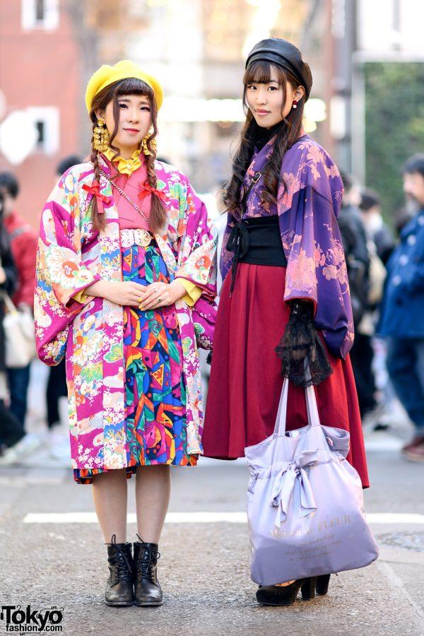 Colorful Vintage Kimono Street Styles w/ Mamechiyo Modern, MIIA, Maison De Fleur & Shimamura