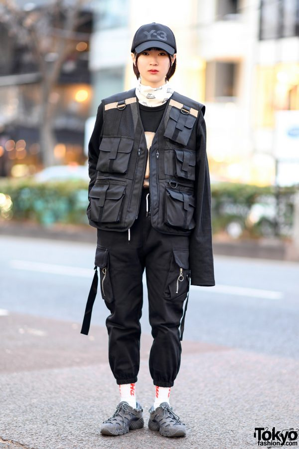 Monochrome Tokyo Street Style w/ (ME)Harajuku, Y-3, More Than Dope & Asics Sneakers
