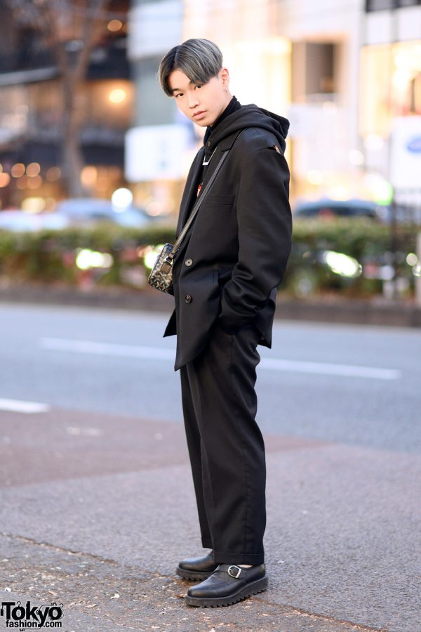 All Black Harajuku Street Style w/ Ambush Blazer, Palm Angels Flame Hoodie, Louis Vuitton, Nerd Unit & Geometric Crossbody Bag