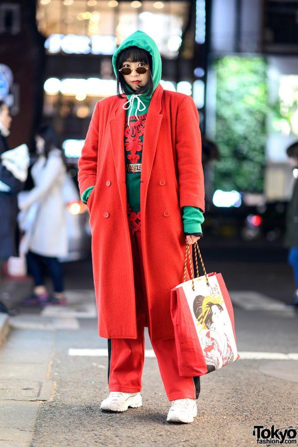 Colorful Tokyo Vintage Streetwear Style w/ Red Coat, Green Hoodie, Graphic Bag, Skechers & Kappa
