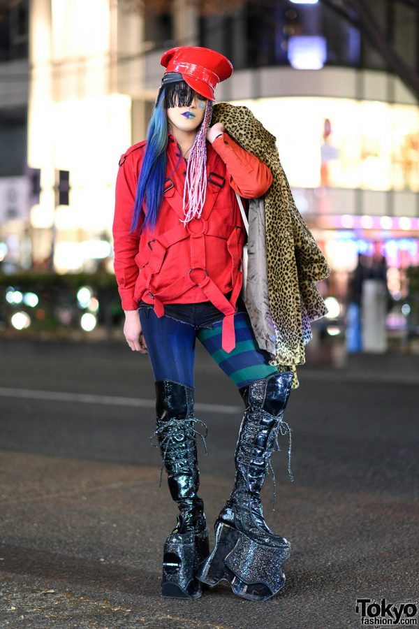Ombre Hair, Braided Hair Falls, Harness Jacket, Leopard Coat, Tall Glitter Boots & Flower Bag