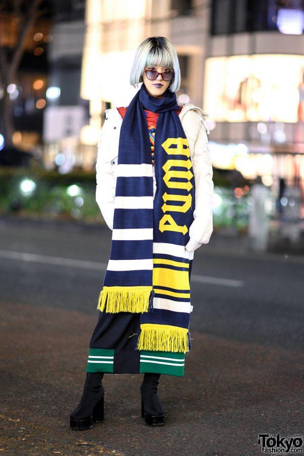Rikarin in Chic Harajuku Street Style w/ Purple Makeup, Puffer Jacket, Keisuke Yoshida Maxi Skirt, Fenty x Puma Scarf, Jeffrey Campbell Boots & Kawaii Til I Die Sling