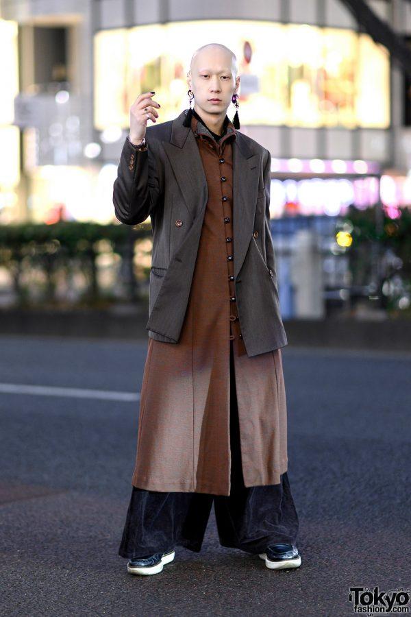 Harajuku Model/Musician in Vintage Monochrome Streetwear w/ Kenzo Coat, Wide Leg Pants, Tassel Earrings & Y-3 Loafers