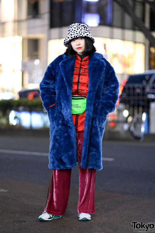 Tokyo Winter Street Style w/ Jouetie Coat, Another Edition Velvet Pants, Duke Energy Waist Bag & Puma Sneakers