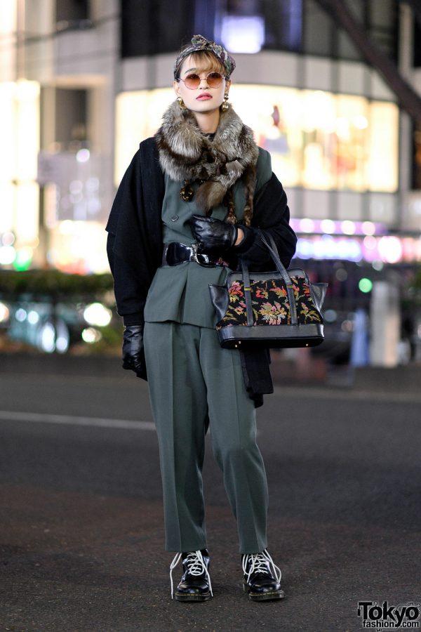 Vintage Monochrome Streetwear w/ Asymmetric Coat, 80s Suit, Bow Headband, Floral Handbag & Dr. Martens Boots