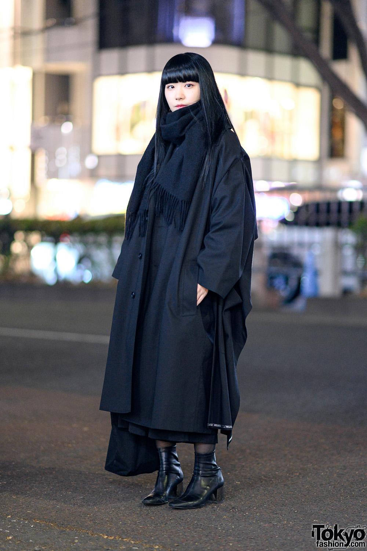 All Black Minimalist Japanese Street Style w/ Yohji Yamamoto Y's Oversized Coat, Comme des Garcons, Heeled Boots & Tote