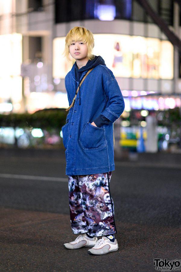 Blonde Harajuku Guy in Champion Hoodie, Balmung Graphic Wide Pants, Prada Sneakers & Denim Jacket