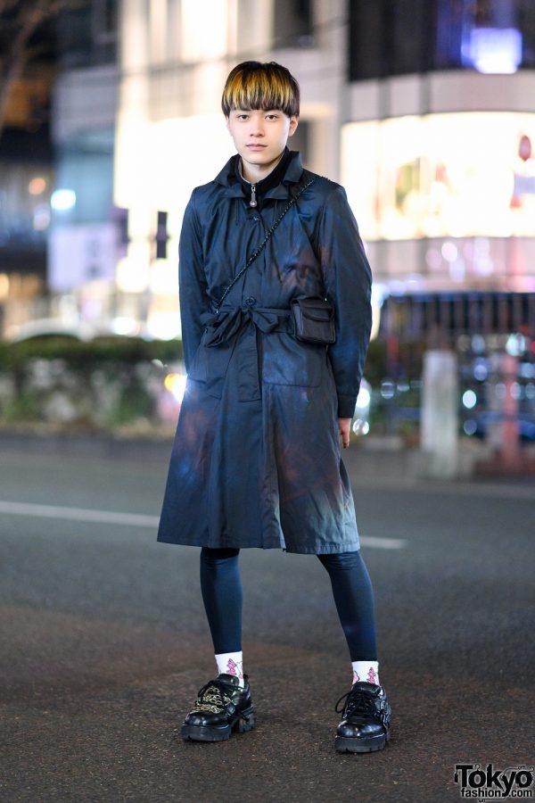 Harajuku Menswear Street Style w/ Belted Coat, San To Nibun No Ichi Turtleneck, Kirby Socks & New Rock Chain Shoes