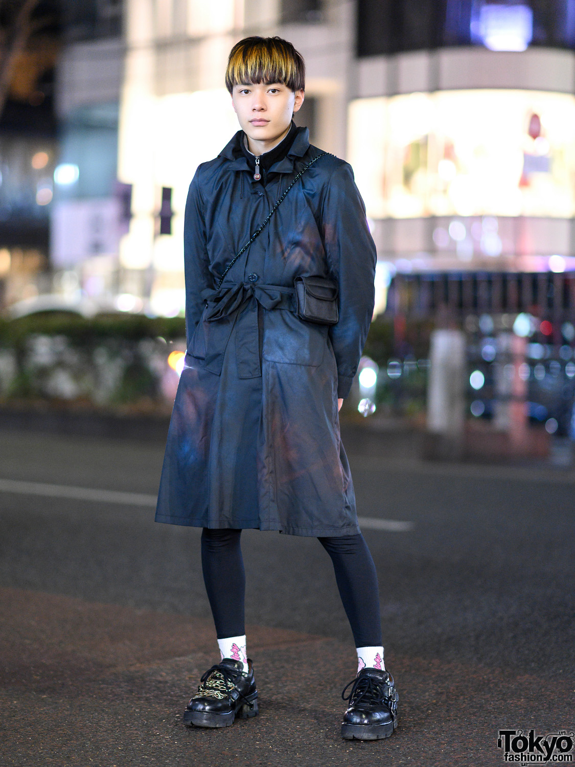 Harajuku Menswear Street Style w/ Belted Coat, San To Nibun No Ichi Turtleneck, Kirby Socks & New Rock Chain Shoes