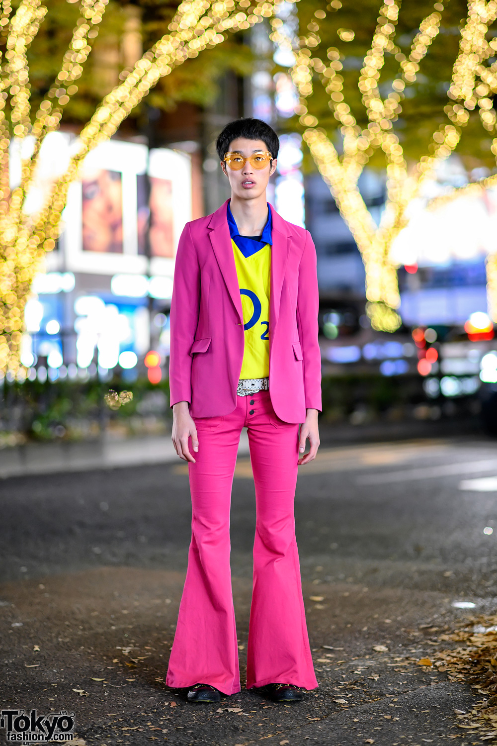 Pink Suit With Flare Pants, Yellow Arsenal O2 Shirt & Batman Sneakers in Harajuku
