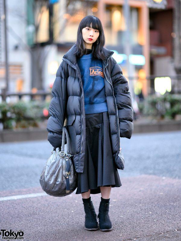 Japanese Model in Oversized Rick Owens Puffer Coat, Dirk Bikkembergs Bag, Yohji Yamamoto & Petrosolaum Shoes