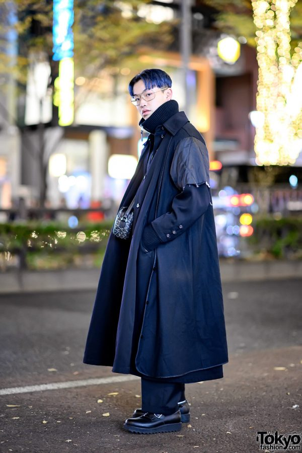 Deconstructed Maxi Coat, Acne Studios Turtleneck & Goyard Bag in Harajuku