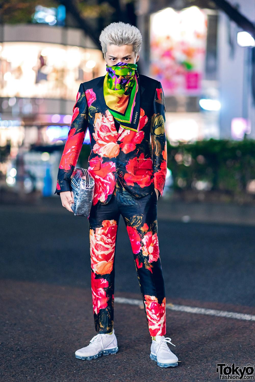 Alexander McQueen Rose Print Suit Versace Scarf & Margiela Silver Bag in Harajuku