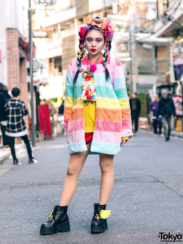 Japanese Kawaii Street Style w/ Colorful Bear Headpiece, Galaxxxy Pastel Rainbow Jacket, Teenstyle, Forever21, WEGO Wing Boots, Claire's Unicorn Backpack, Handmade Accessories & Bold Makeup