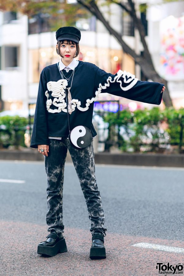 Monochrome Streetwear Style in Harajuku w/ Zara Ruffle Sweater, Vintage Tie Dye Pants, Yin-Yang Bag, Prego Platform Shoes & Faith Tokyo Jewelry