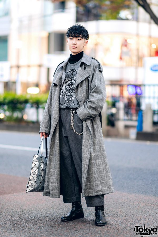 Monochrome Winter Street Style w/ Sugarhill Tokyo Plaid Coat, En Route Tweed Pants, Padrone Boots, Agnes B & Bao Bao Issey Miyake