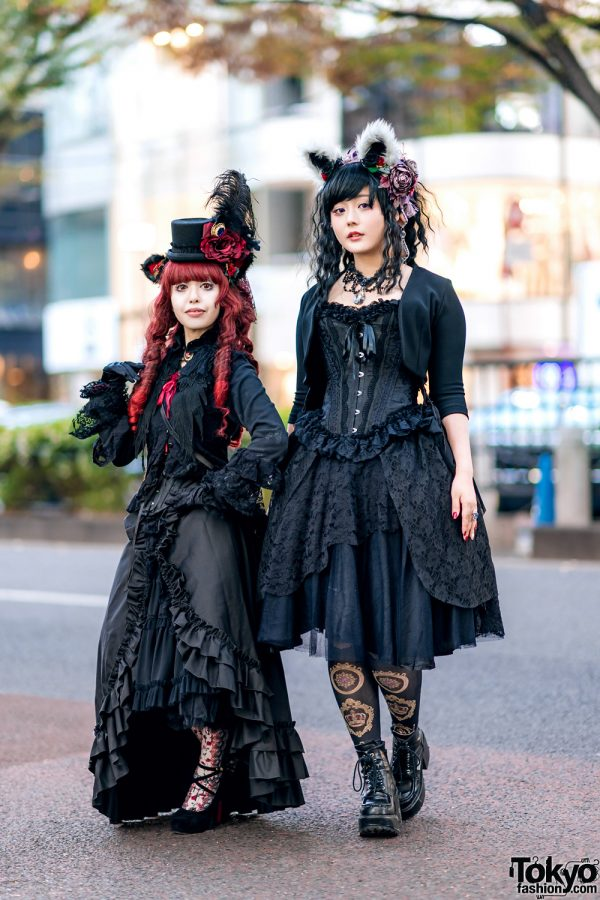 Gothic Lolita Street Styles w/ Furry Ears, MR Corset, Innocent World Ruffle Skirts, Baby The Stars Shine Bright, Mary West Necklaces & Vivienne Westwood Bag
