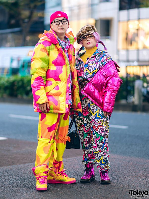 Harajuku Duo in Colorful Winter Street Styles w/ Adidas x Jeremy Scott Camouflage Print, Kobinai Puffer Jacket, Dr. Martens Metallic Boots, Galaxxxy Hoodie, Nuezzz Jumpsuit & MCM Bag