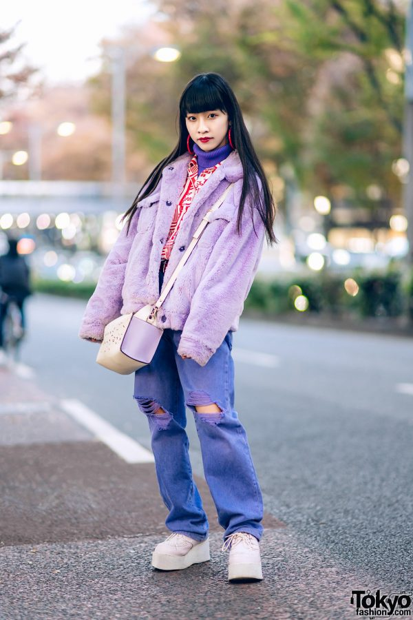 Harajuku Teen's Purple Street Style w/ Aymmy In The Batty Girls, Ripped Jeans, WEGO Platform Creepers & RRR Satchel Bag