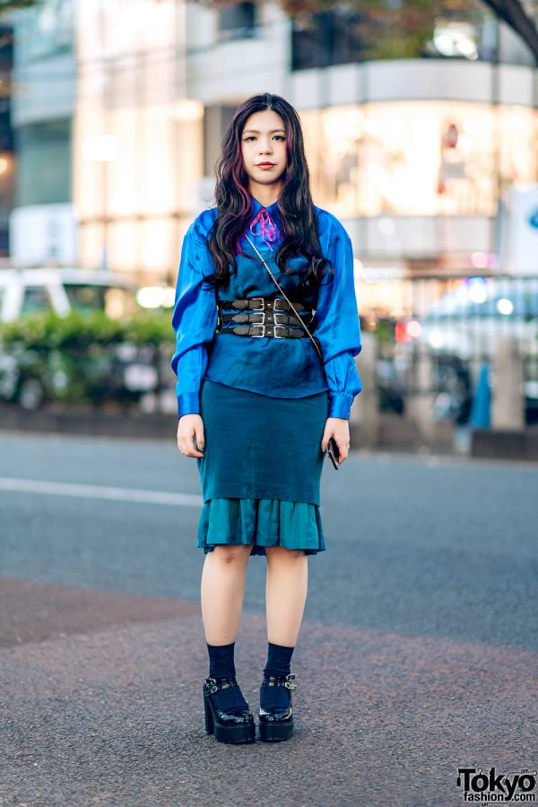 Chic Resale Streetwear in Harajuku w/ Camisole Over Satin Shirt, Corset Belt, Layered Skirts, Patent Heels & Gold Floral Sling
