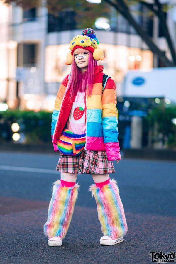 Harajuku Rainbow Kawaii Streetwear Style w/ Teenstyle Puffer Jacket, WC, Question Mark, TMNT Backpack, Fuzzy Waist Bag, 6%DokiDoki Duck Ear Muffs & Googly Eyes Mask