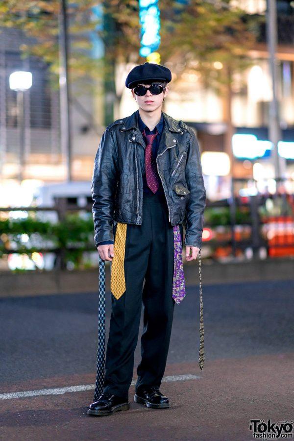 Harajuku Style w/ Vintage Motorcycle Jacket, Burberry, Dr. Martens, Chanel & Five Salvatore Ferragamo Neckties