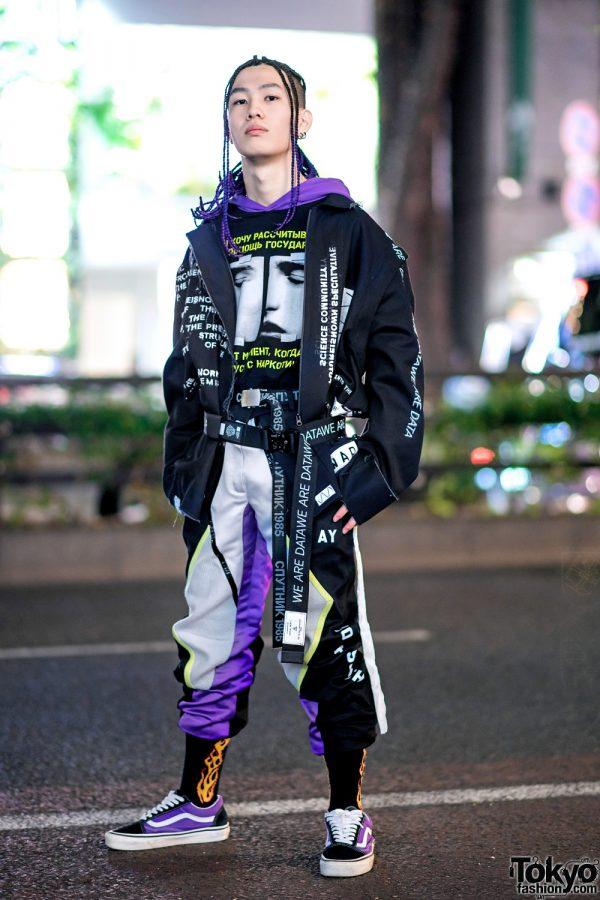 Bunker Tokyo Russian Streetwear Style w/ Purple Braids, Russian Writing Prints, Layered Belts, Flame Socks & Vans Sneakers
