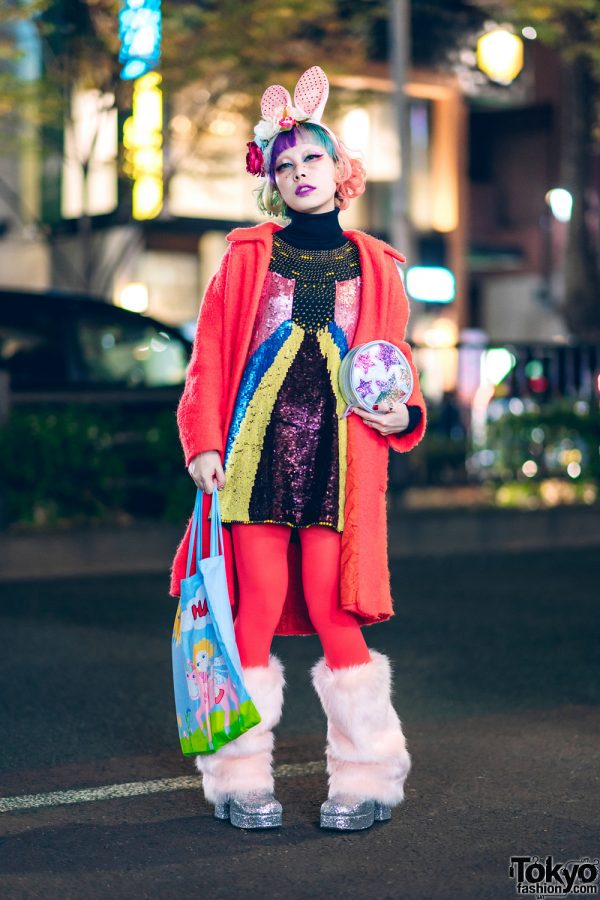 Kawaii Harajuku Street Style w/ Rainbow Bob, Rainbow Makeup, Bunny Ears, Sequin Dress, Fuzzy Leg Warmers & UNIF Glitter Shoes