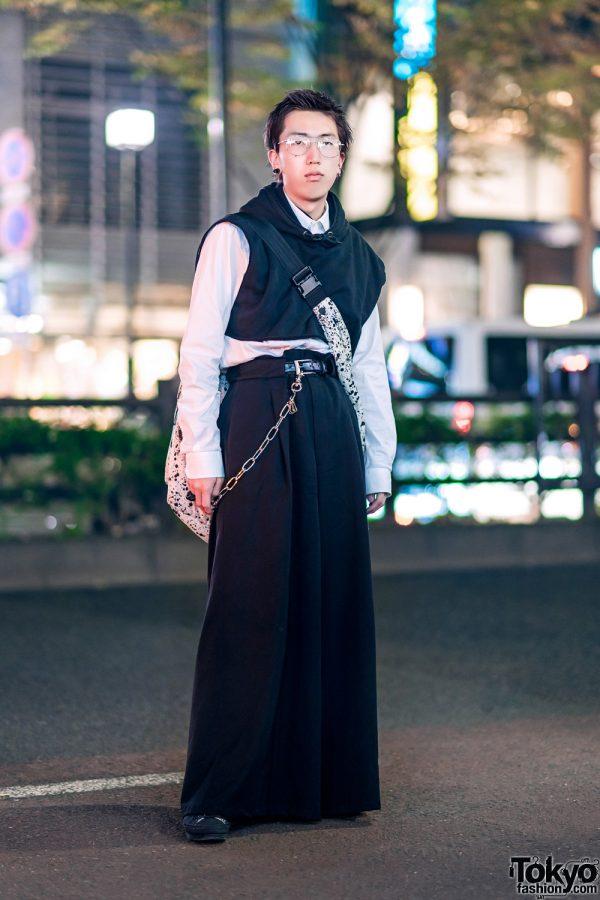 Harajuku Monochrome Street Style w/ John Lawrence Sullivan Wide Leg Pants, Stof, Gucci, Maison Margiela & Yohji Yamamoto Sneakers