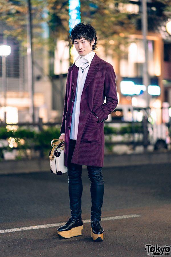Vivienne Westwood Tokyo Streetwear Style w/ Skeleton Earring, Pinstripe Coat, Skinny Leather Pants, Rocking Horse Shoes & Suitcase Bag