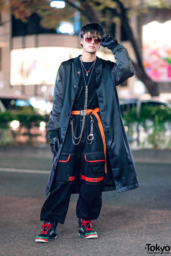 Harajuku Street Style w/ Satin Coat, Black Gloves, Marithe + Francois Girbaud Pants, Nike Sneakers & Silver Chains