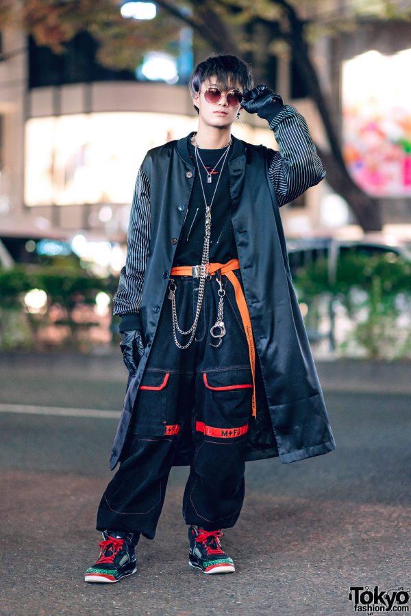Harajuku Street Style w/ Satin Coat, Black Gloves, Marithe + Francois Girbaud Pants, Nike Sneakers & Silver Chains