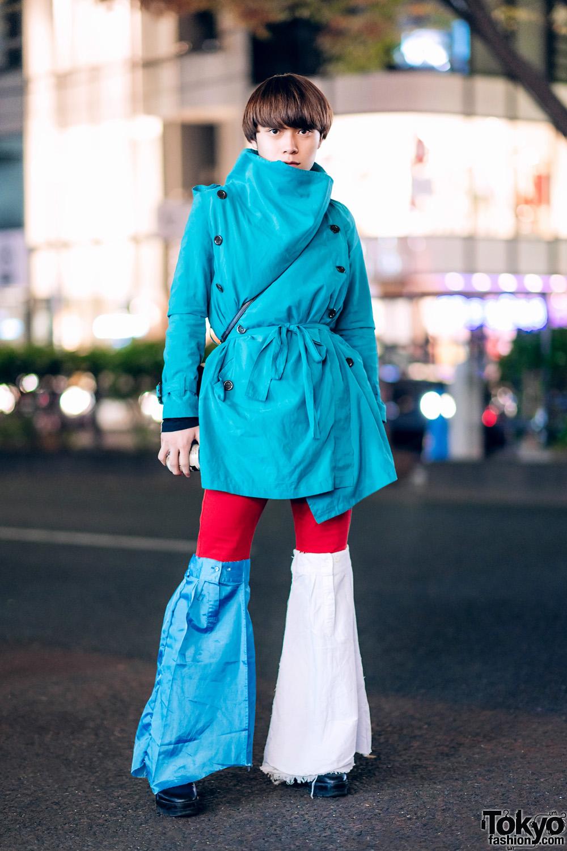 Harajuku Street Style w/ Remake Shirt Sleeve Flare Pants, Belted Cowl Neck Coat & Blunt Bob