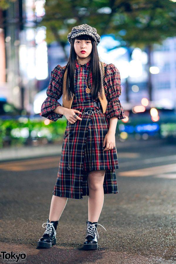 Harajuku Plaid Streetwear Style w/ Leopard Print Beret, RRR Vintage Vest, HEIHEI, Faith Tokyo & WEGO Boots