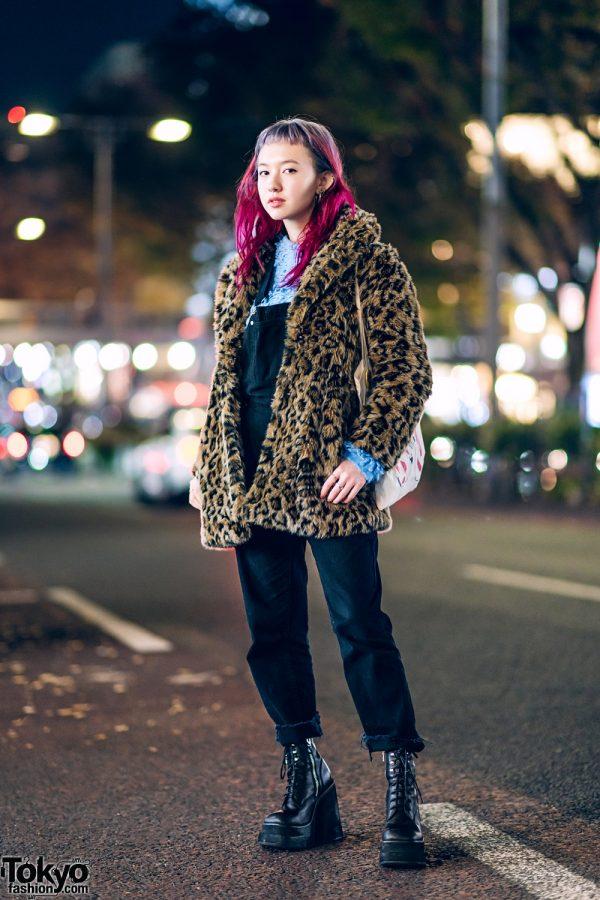 Winter Harajuku Streetwear Style w/ Leopard Print Jacket, X-Girl, UNIF Overalls, Tiffany, VidaKush & Bloom
