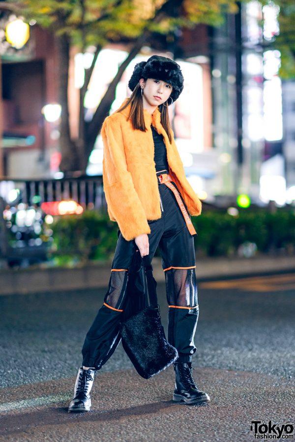 Orange & Black Japanese Streetwear w/ Faux Fur Jacket, Crop Top, Boohoo Pants, WEGO Fur Hat & Laugh WorldWide Belt