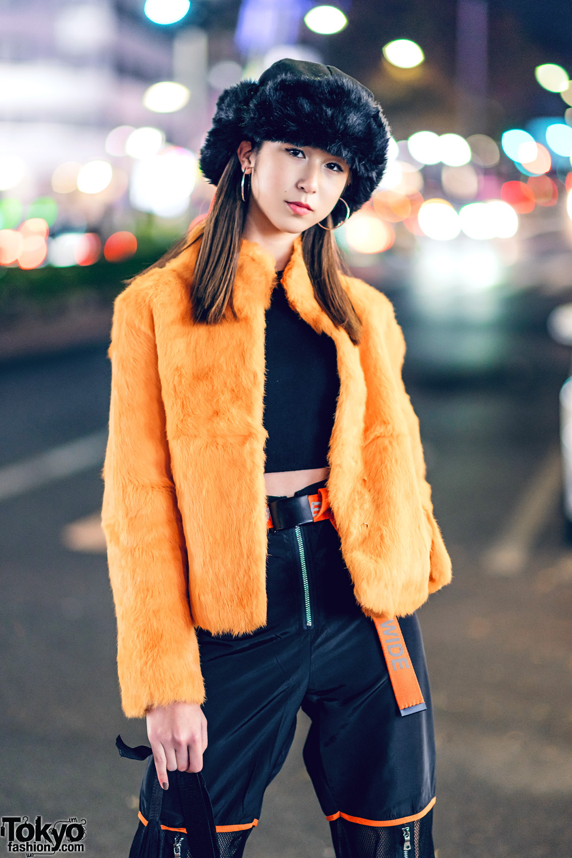 Orange Amp Black Japanese Streetwear W Faux Fur Jacket