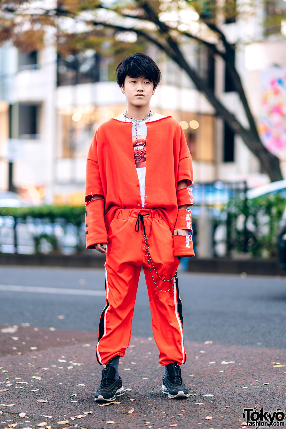 Harajuku Remake Street Style w/ Cutout Sleeve Jacket, Warp Track Pants, Mouth Shirt & Nike Air Max 97 Sneakers