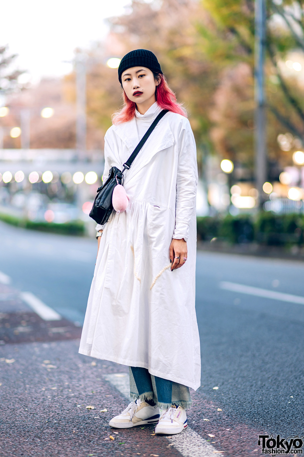 Minimalist Street Style in Harajuku w/ White Coat, MISBHV Patchwork Jeans, Neighborhood & Reebok Sneakers