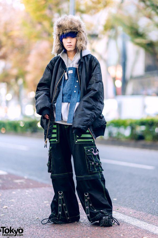 Harajuku Winter Streetwear w/ Brown Furry Hat, Rothco, ESC Studio, Tripp NYC, Ambush & Yosuke