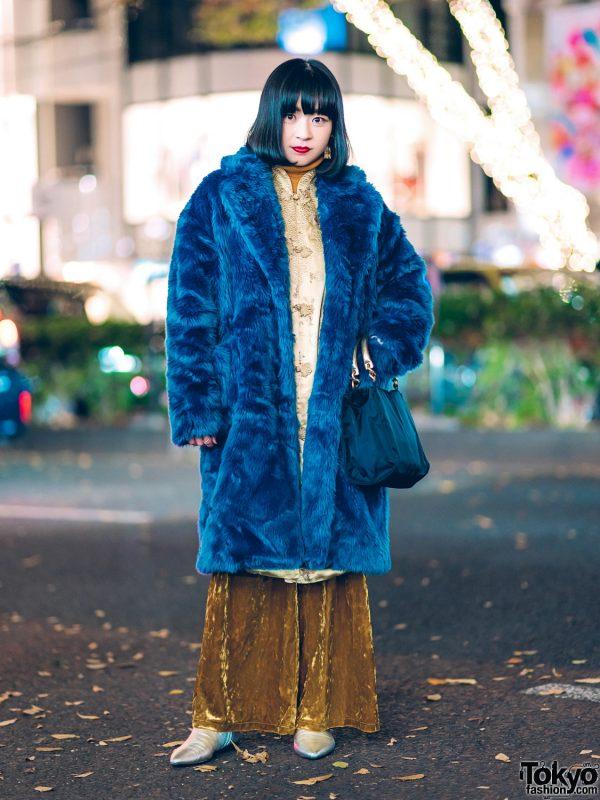 Winter Fashion w/ Jouetie Furry Coat, Mandarin Collar Dress, GU Crushed Velvet Pants, Prada & Pointy Boots