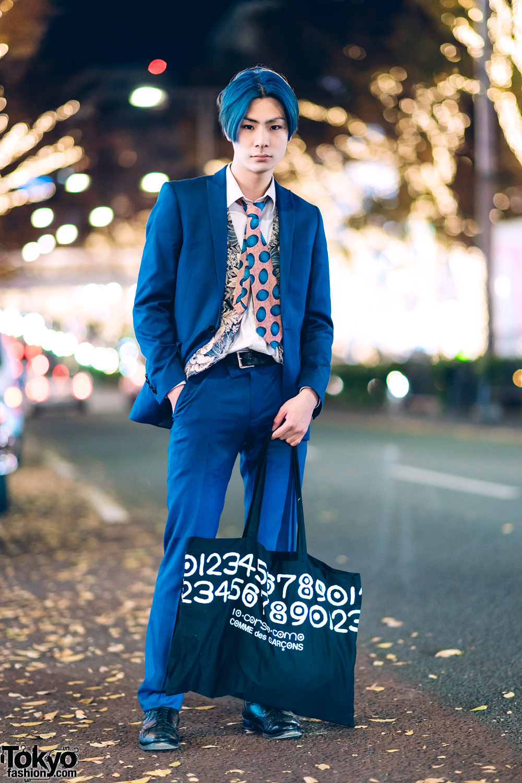 Tokyo Menswear Street Style w/ Blue Hair, Blue Suit, Comme des Garcons & Allen Edmonds Shoes