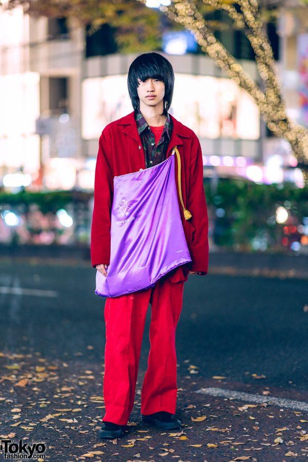 Red Corduroy Suit, Vans Sneakers & Onegaigoto Purple Bag in Harajuku