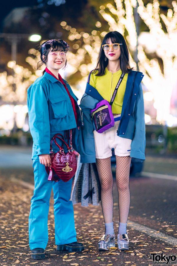 Fun Tokyo Street Styles w/ Dickies x Jouetie Suit, Dr. Martens Glitter Boots, Pameo Pose, Gallerie, Stradivarius & Vivienne Westwood Heart Bag