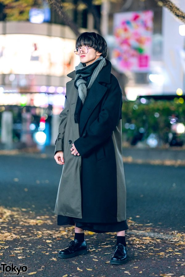 Tokyo Monochrome Winter Street Style w/ Half-Color Coat, Hare, Y-3, Lowrys Farm, Whoop De Doo & Saad